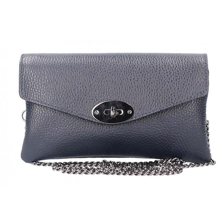 Tmavě modrá kožená kabelka na rameno 515