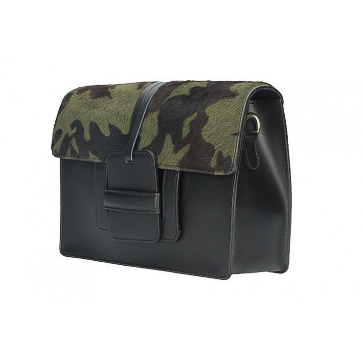 Woman Leather Handbag Pelliccia 497 military green