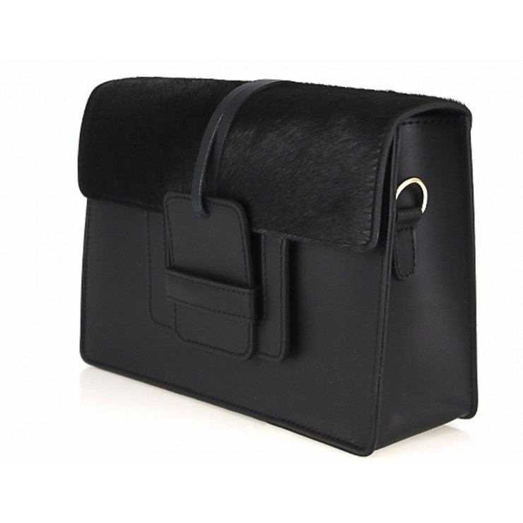 Woman Leather Handbag Pelliccia 497 black