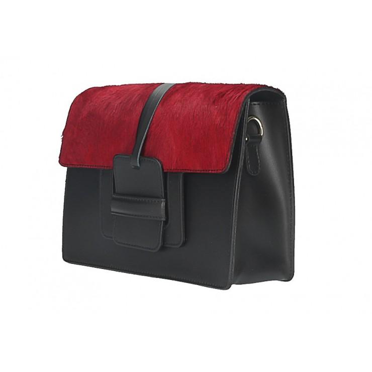 Woman Leather Handbag Pelliccia 497 red