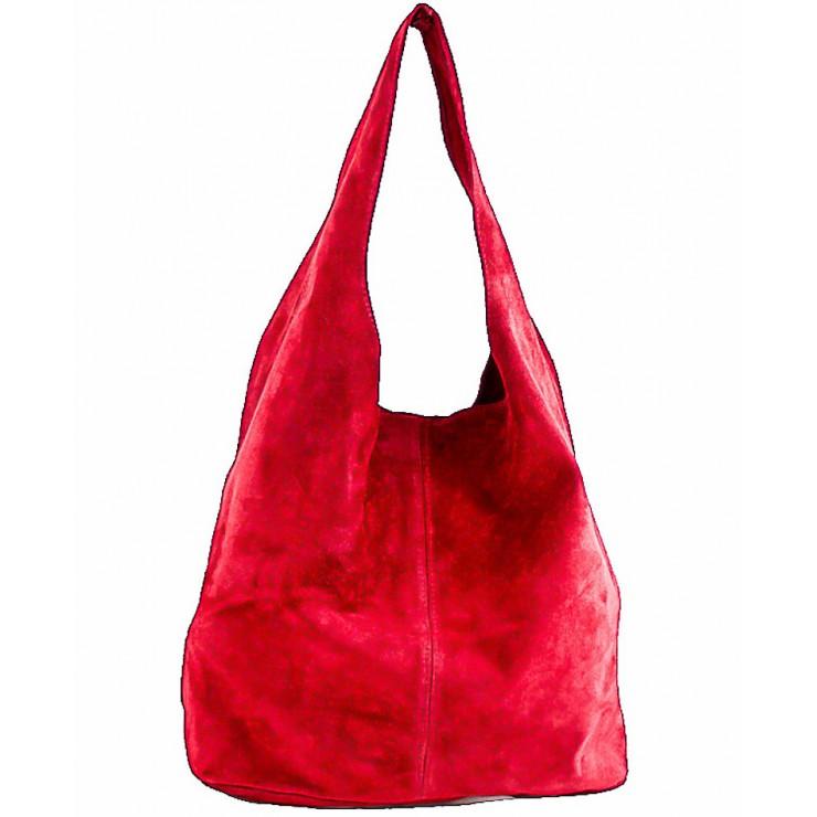 Kožená kabelka v úpravě semiš 804A rudá