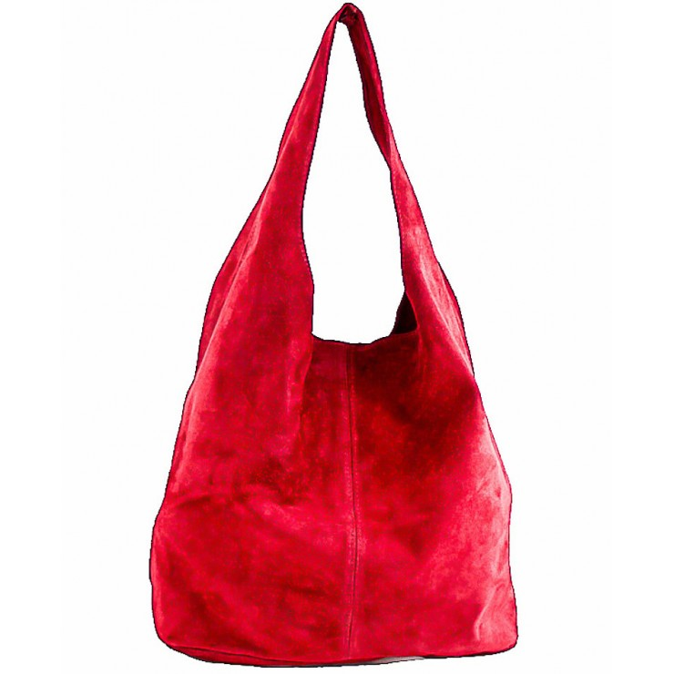 Suede Leather Maxi Bag  804A red