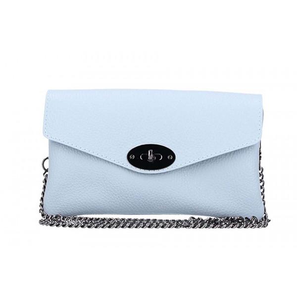 Nebesky modrá kožená kabelka na rameno 515