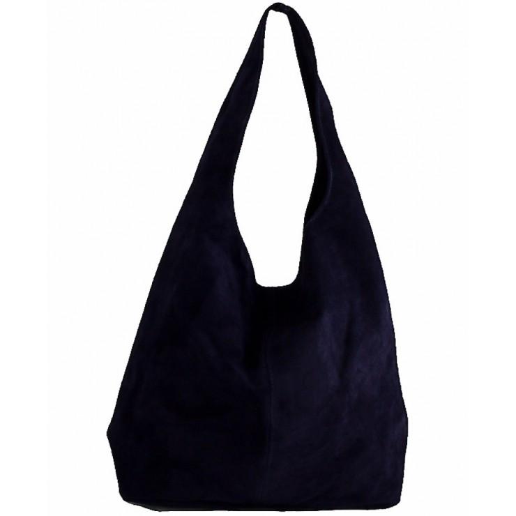 Kožená kabelka v úprave semiš 804A modrá