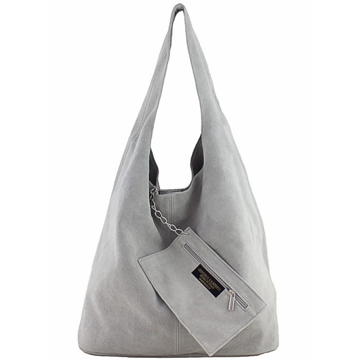 Kožená kabelka v úprave semiš 804A šedá