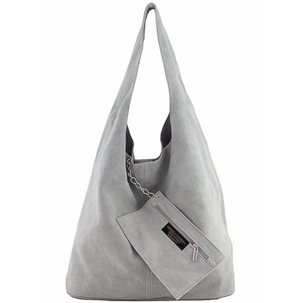 Kožená kabelka v úprave semiš 804A šedá Šedá