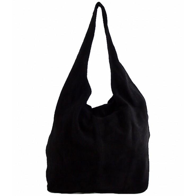 Kožená kabelka v úpravě semiš 804A černá