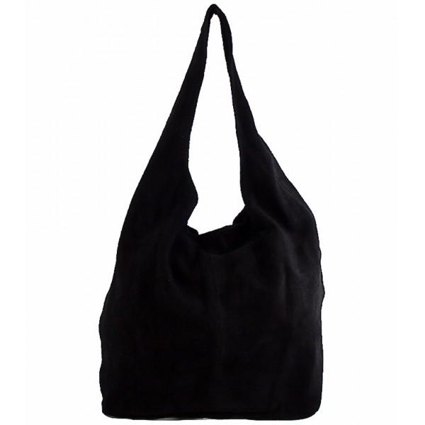 Kožená kabelka v úprave semiš 804A čierna Čierna