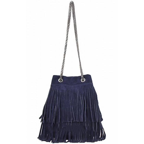 Semišová strapcová kožená kabelka 429 modrá
