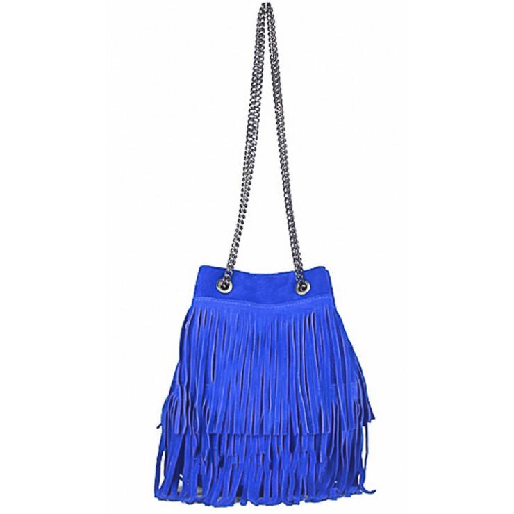 Semišová třásňová kožená kabelka 429 azurově modrá