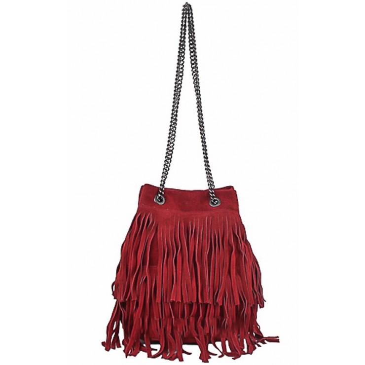 Semišová strapcová kožená kabelka 429 bordová