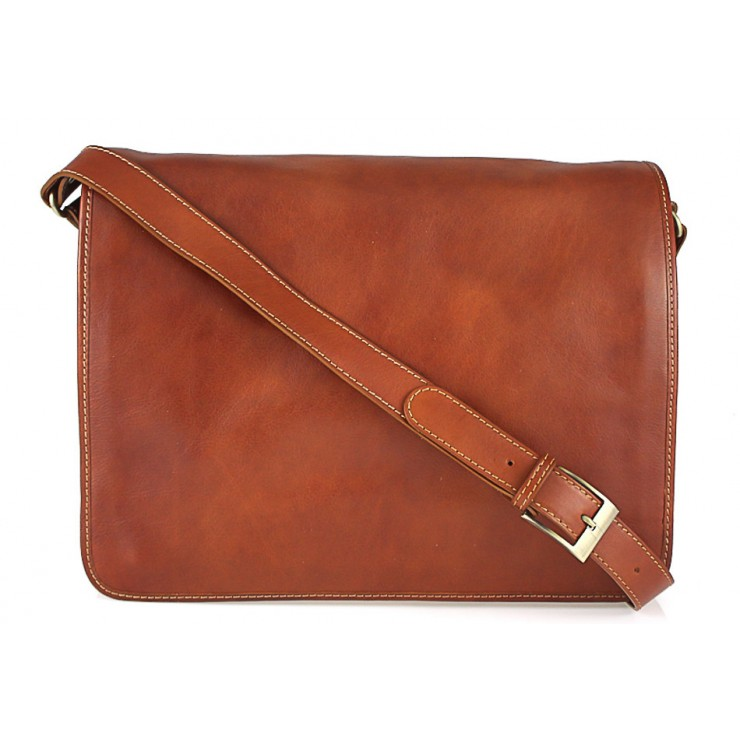Leather messenger bag cognac