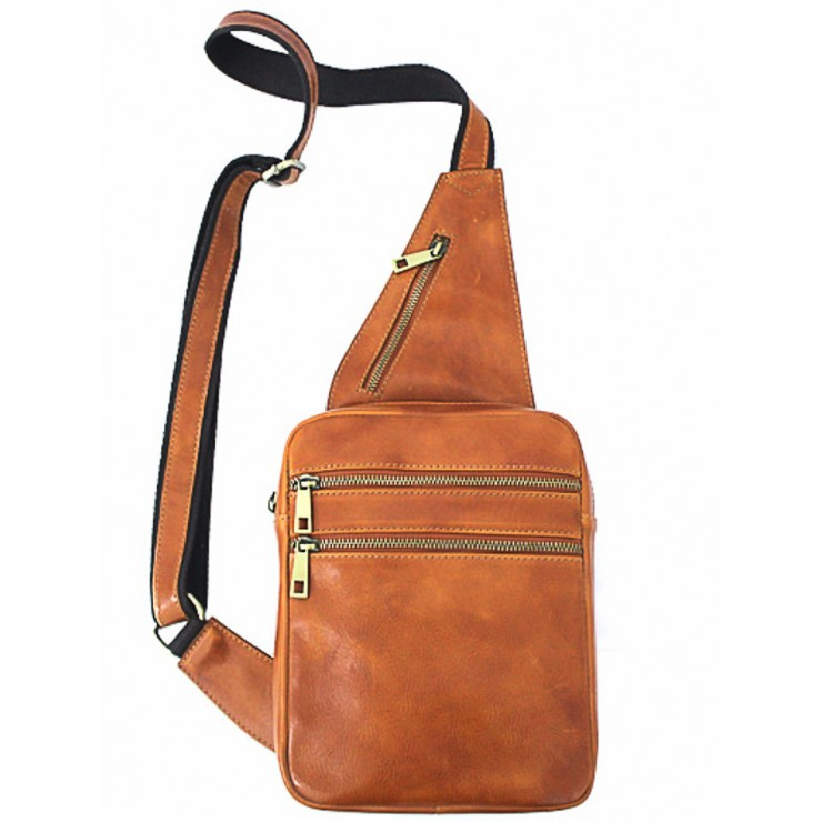 Genuine Leather Strap bag 373 cognac