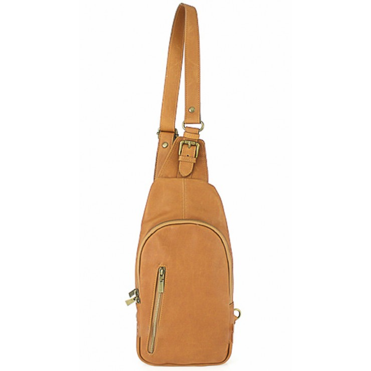 Genuine Leather Strap bag 373A cognac