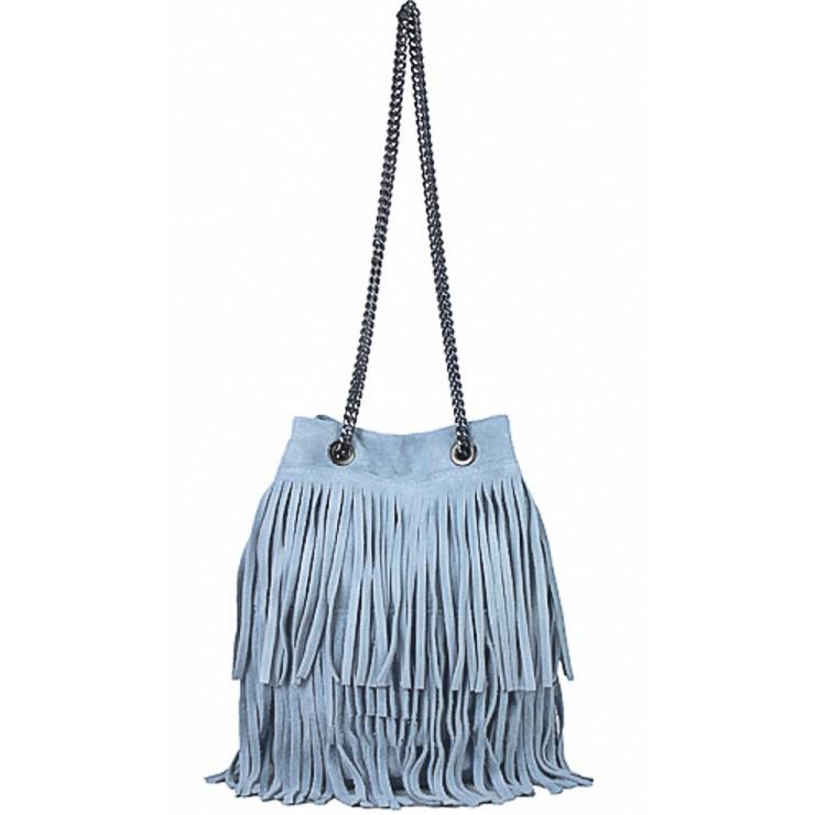 Semišová třásňová kožená kabelka 429 nebesky modrá