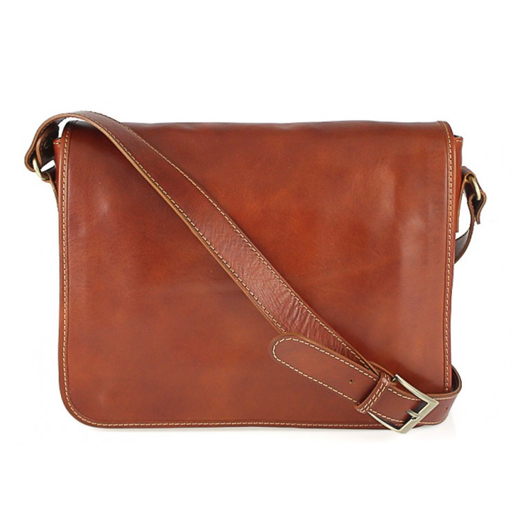 Leather messenger bag 234 koňak MADE IN ITALY