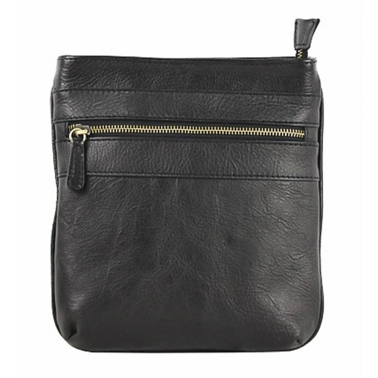 Pánska kožená taška na rameno 602 čierna