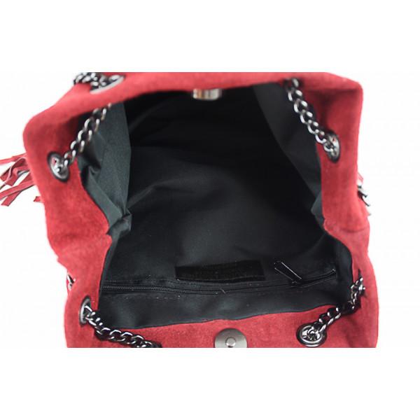 Semišová strapcová kožená kabelka 429 tmavošedá Šedá