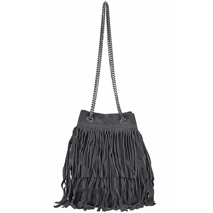 Semišová strapcová kožená kabelka 429 šedá