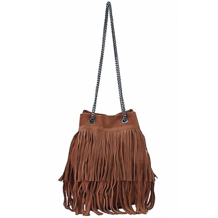 Semišová strapcová kožená kabelka 429 hnedá
