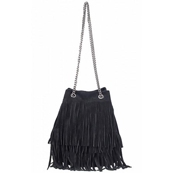 Semišová strapcová kožená kabelka 429 čierna