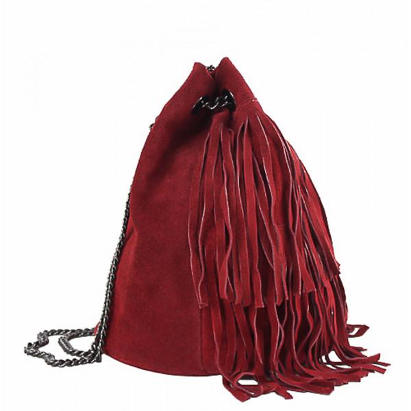 Semišová strapcová kožená kabelka 429 červená