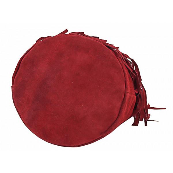 Semišová strapcová kožená kabelka 429 šedohnedá