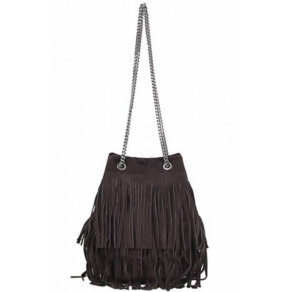 Semišová strapcová kožená kabelka 429 tmavohnedá