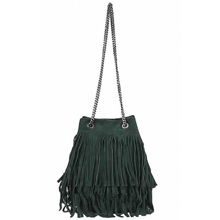 Semišová strapcová kožená kabelka 429 tmavozelená
