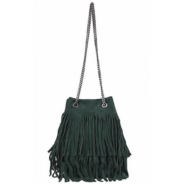 4f0055fd7 Semišová strapcová kožená kabelka 429 zelená - MONDO ITALIA s.r.o.