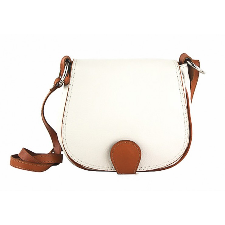 Leather Messenger Bag 923 beige + cognac