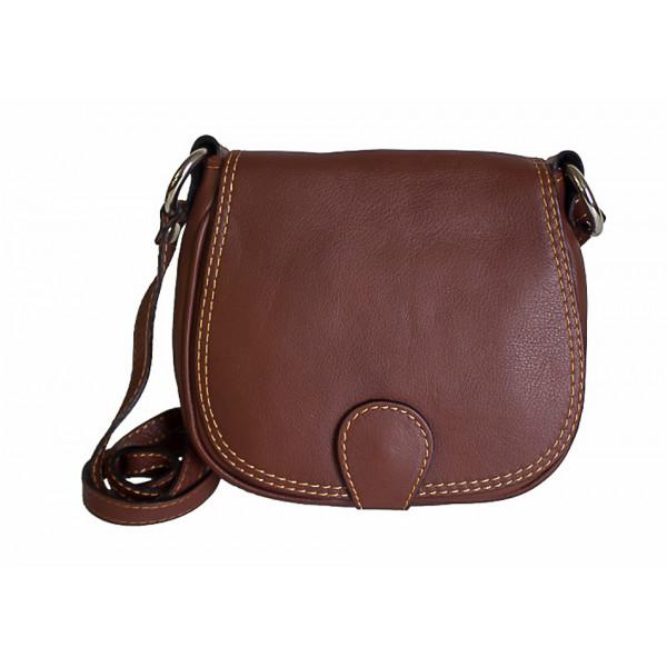 Kožená kabelka na rameno 923 hnedá