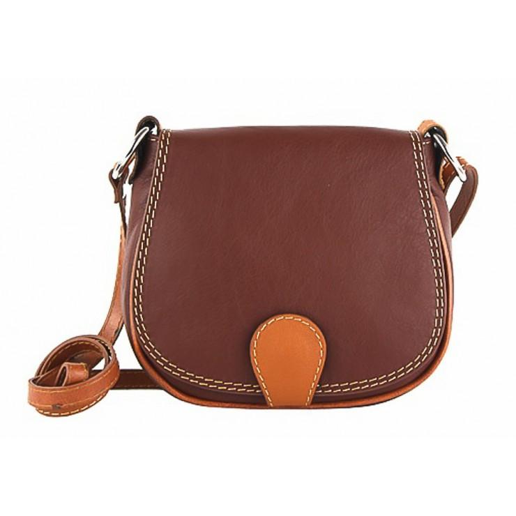 Kožená kabelka na rameno 923 hnedá + koňaková