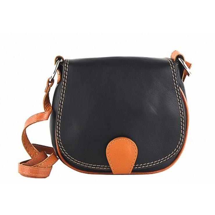 Kožená kabelka na rameno 923 čierna + koňak