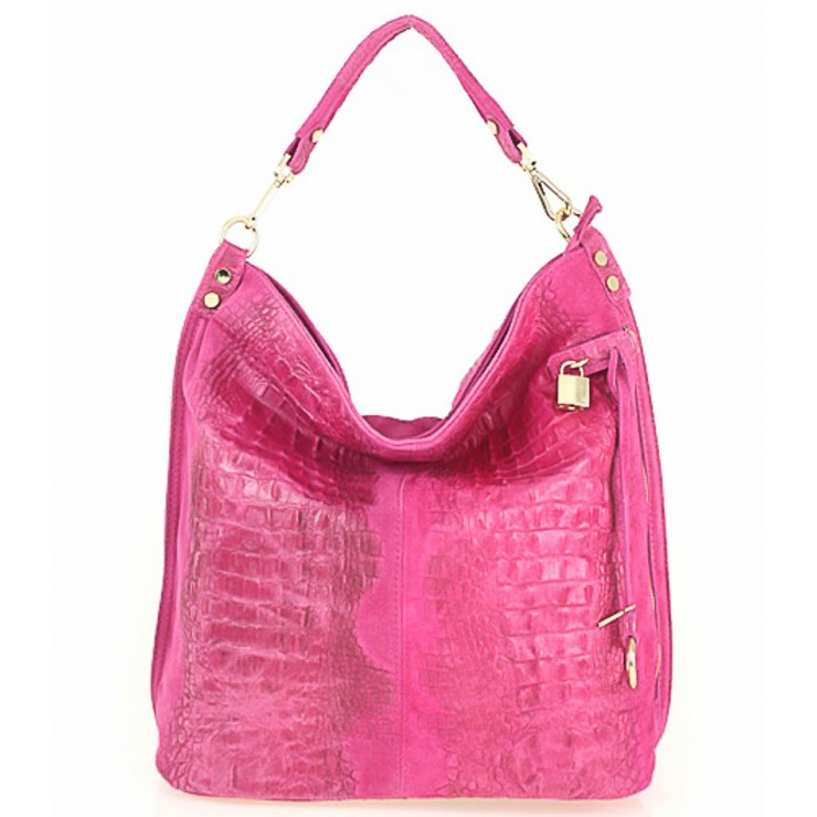 Genuine Leather Handbag Crocodile stamp 1311 fuxia