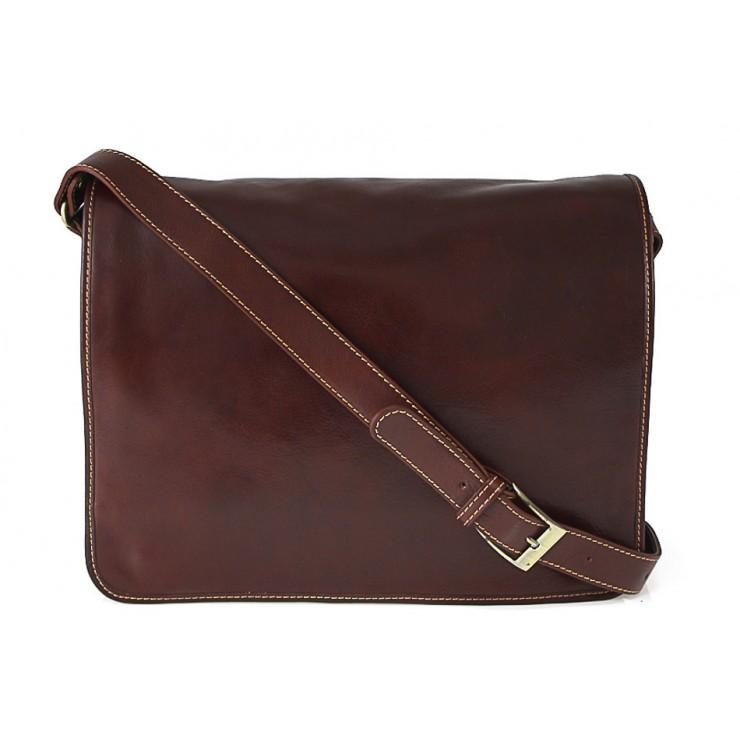 Pánska kožená taška na rameno hnedá