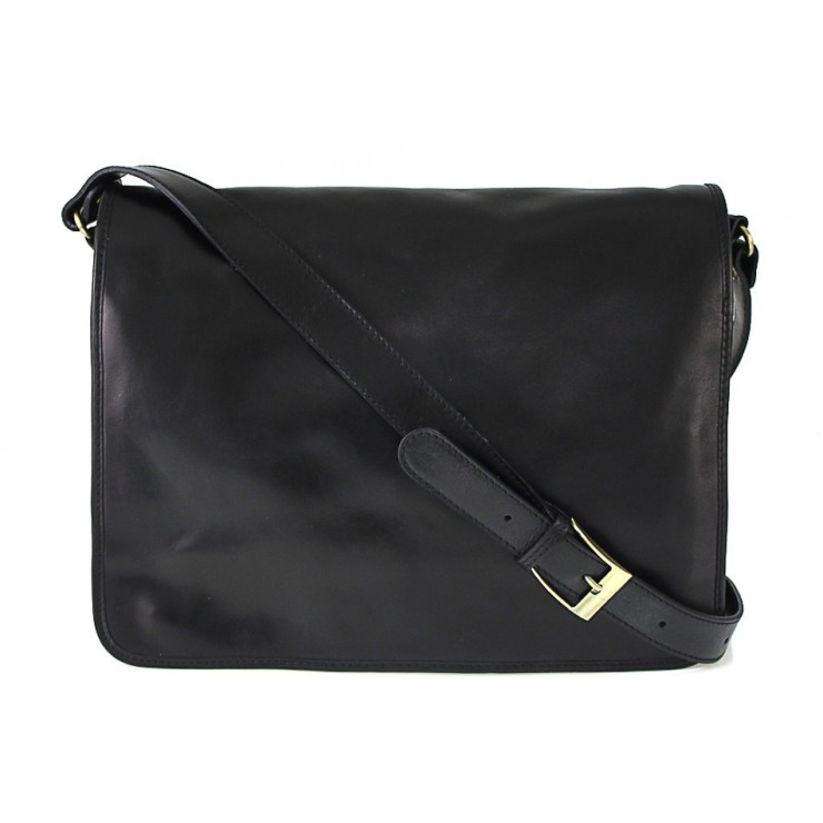 Leather messenger bag 316 black MADE IN ITALY