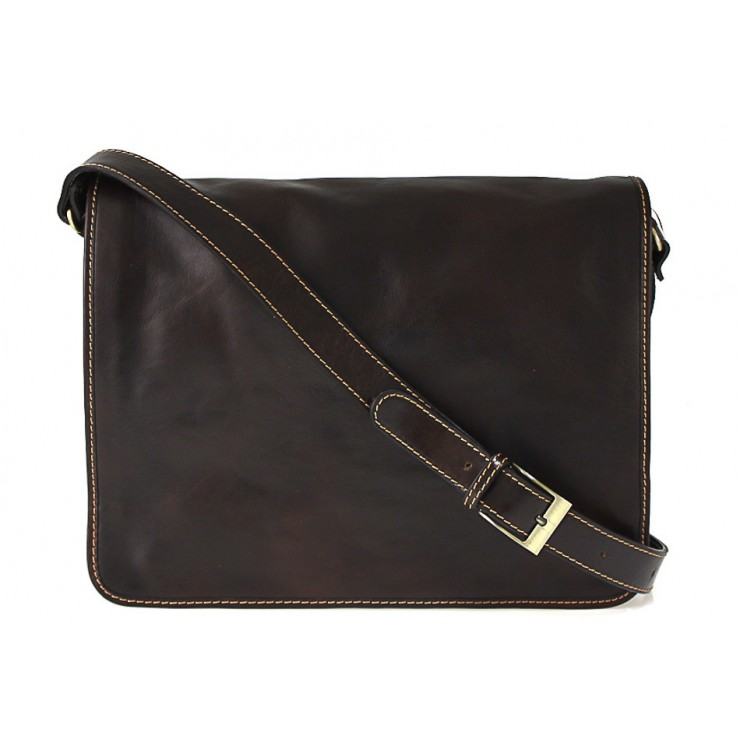 Leather messenger bag dark taupe