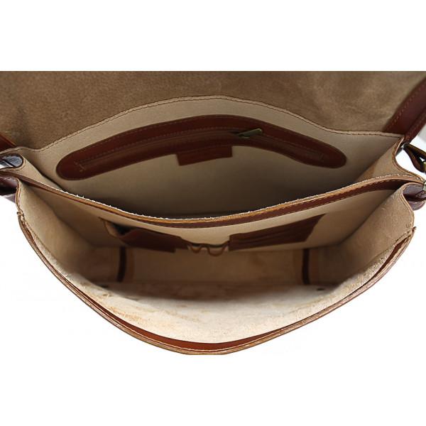 Pánska kožená taška na rameno 316 tmavohnedá MADE IN ITALY Hnedá