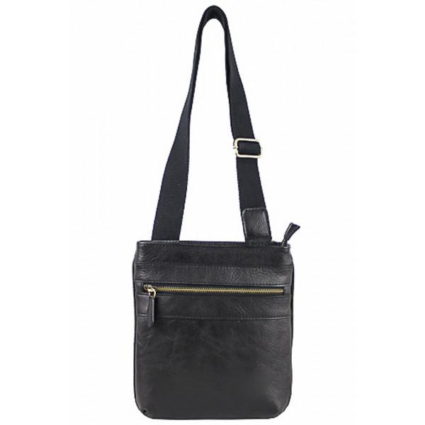 Pánska kožená taška na rameno 602 tmavohnedá Hnedá