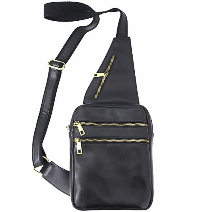 Pánska kožená taška cez rameno 373 čierna