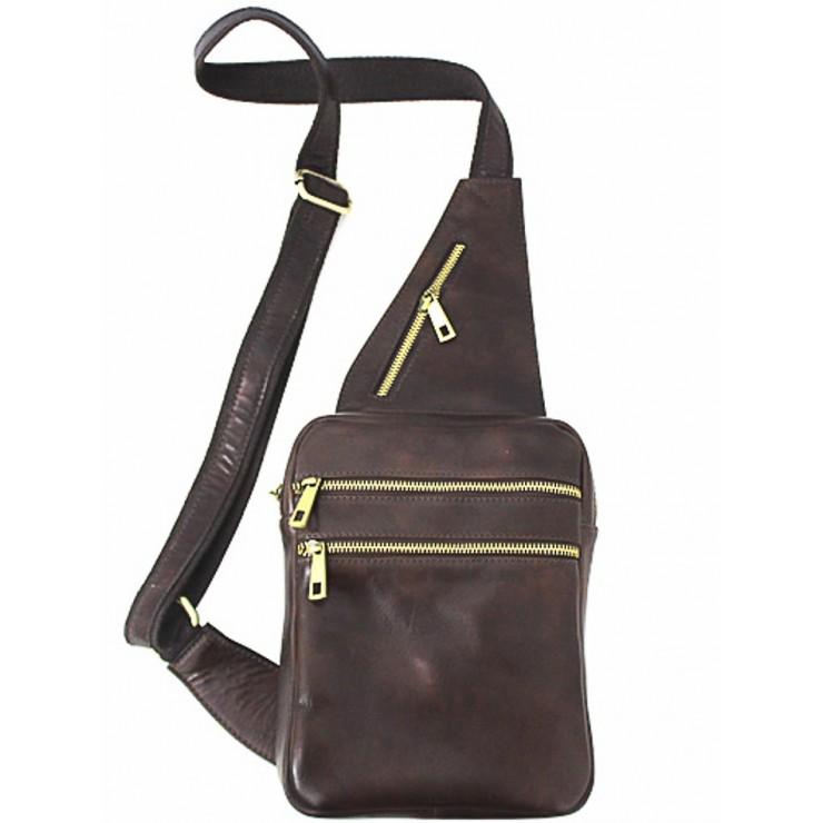 Pánska kožená taška cez rameno 373 tmavohnedá