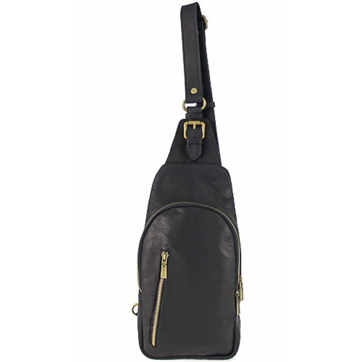 Genuine Leather Strap bag 990 black