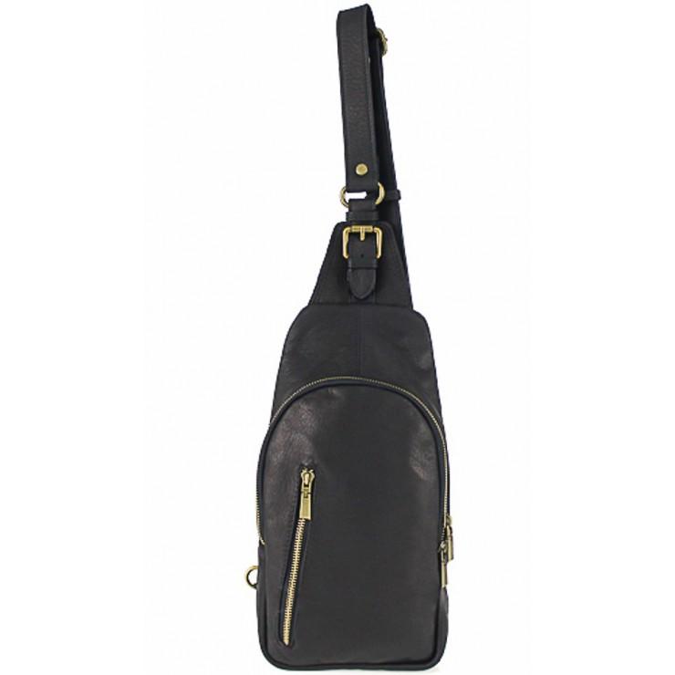 Pánska kožená taška cez rameno 373A čierna