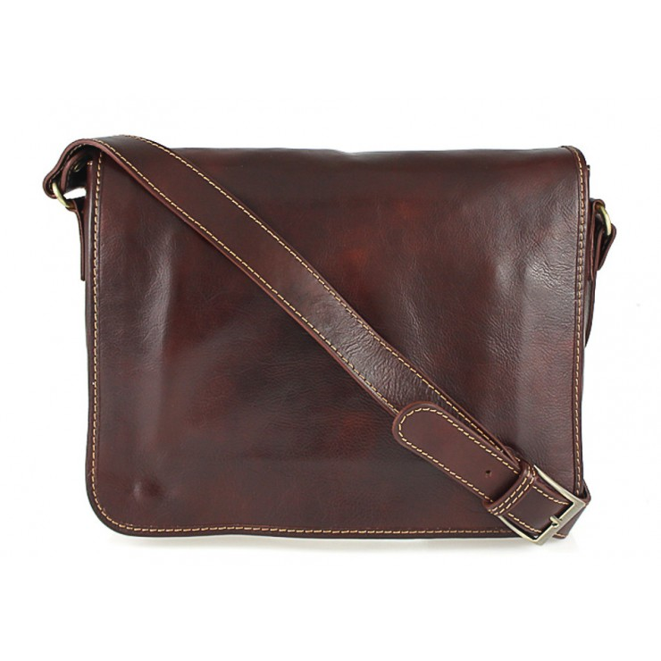 Leather messenger bag 234 brown MADE IN ITALY