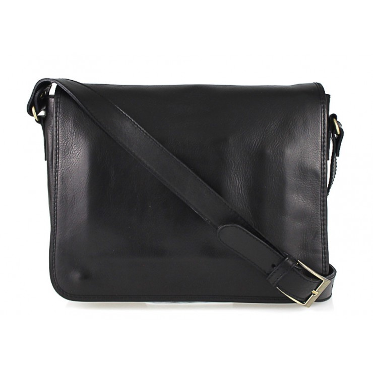 Leather messenger bag 234 black MADE IN ITALY