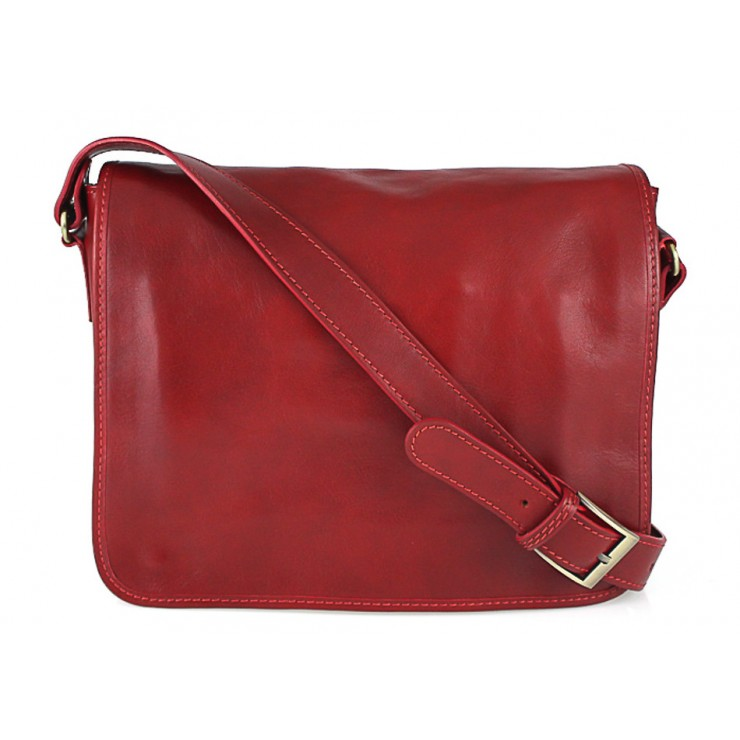 Leather messenger bag 234 red MADE IN ITALY