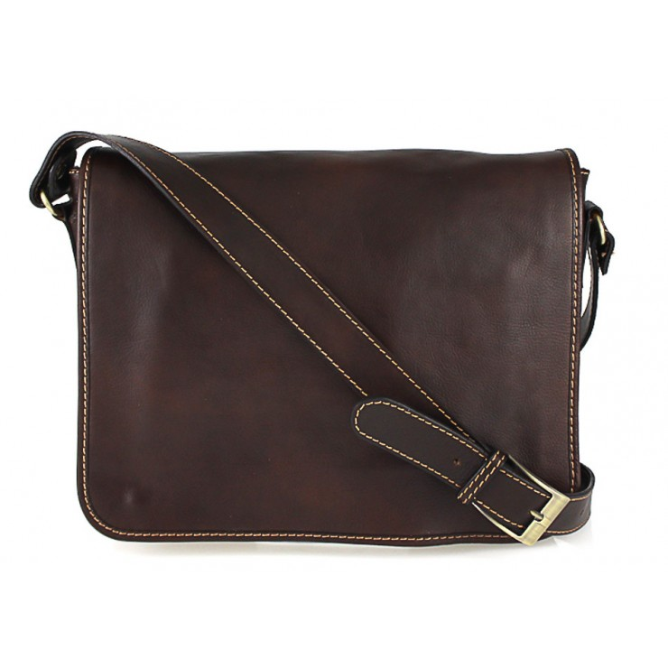 Leather messenger bag 234 dark taupe MADE IN ITALY