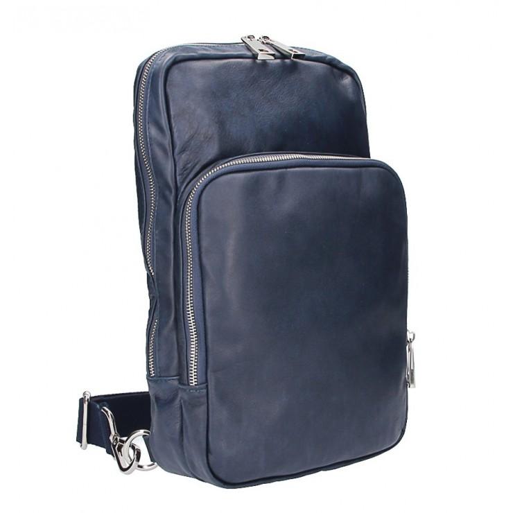 Kean Kožený batoh na rameno modrý