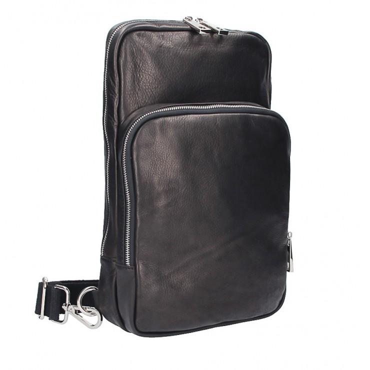 Kožený batoh na rameno černý